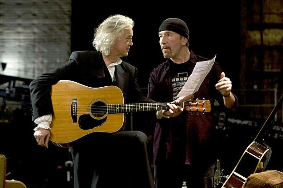 "Jimmy Page and The Edge in, ""It Might Get Loud."" Photo: Eric Lee, Sony Pictures Classics"