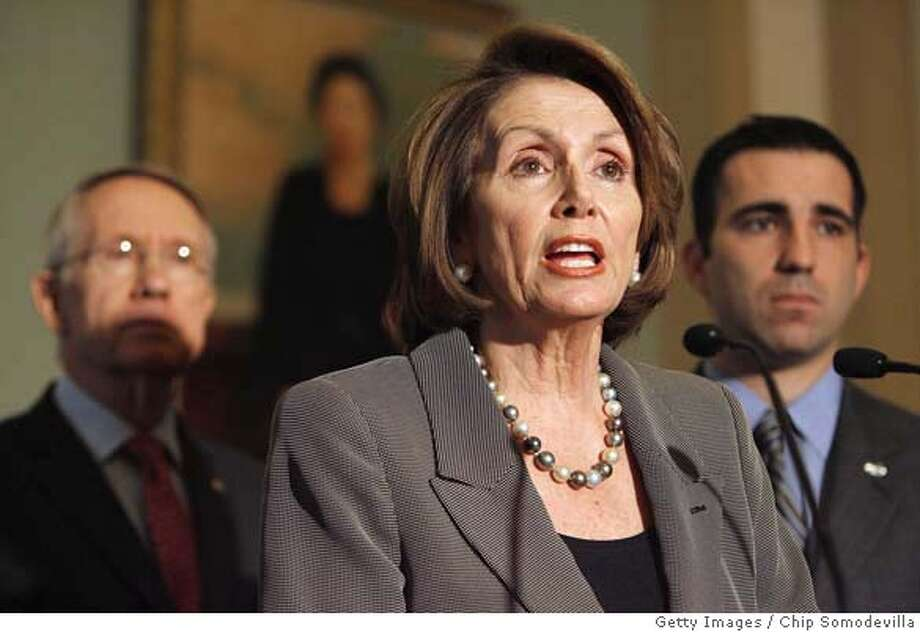 ###Live Caption:WASHINGTON - APRIL 10: U.S. Speaker of the House Nancy Pelosi (D-CA) (C) delivers a statement in reaction to President George W. Bush's address about the ongoing war in Iraq with Senate Majority Leader Harry Reid (D-NV) (L) and Iraq war veteran Jon Soltz at the U.S. Capitol April 10, 2008 in Washington, DC. At the recommendation of Gen. David Petraeus, Bush announced that beginning in July soliders deployed to Iraq will serve 12-month tours instead of the current 15-month tours. (Photo by Chip Somodevilla/Getty Images)###Caption History:WASHINGTON - APRIL 10: U.S. Speaker of the House Nancy Pelosi (D-CA) (C) delivers a statement in reaction to President George W. Bush's address about the ongoing war in Iraq with Senate Majority Leader Harry Reid (D-NV) (L) and Iraq war veteran Jon Soltz at the U.S. Capitol April 10, 2008 in Washington, DC. At the recommendation of Gen. David Petraeus, Bush announced that beginning in July soliders deployed to Iraq will serve 12-month tours instead of the current 15-month tours. (Photo by Chip Somodevilla/Getty Images)###Notes:Democratic Leaders React To Bush Statement On Iraq###Special Instructions: Photo: Chip Somodevilla
