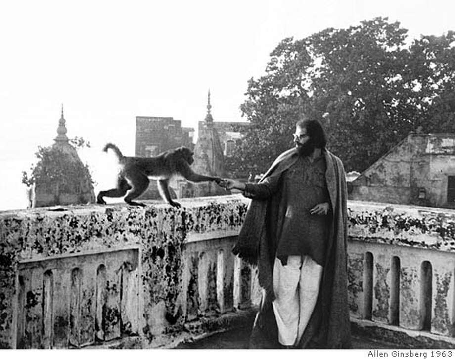 "###Live Caption:ca. 1963, Varanasi, India --- Allen Ginsberg plays with a visiting monkey on the rooftop of a rented room in India. --- From ""A Blue Hand""Image by © Allen Ginsberg/CORBIS / FOR USE WITH BOOK REVIEW ONLY###Caption History:ca. 1963, Varanasi, India --- Allen Ginsberg plays with a visiting monkey on the rooftop of a rented room in India. --- From ""A Blue Hand""Image by � Allen Ginsberg/CORBIS / FOR USE WITH BOOK REVIEW ONLY###Notes:###Special Instructions: Photo: Allen Ginsberg"