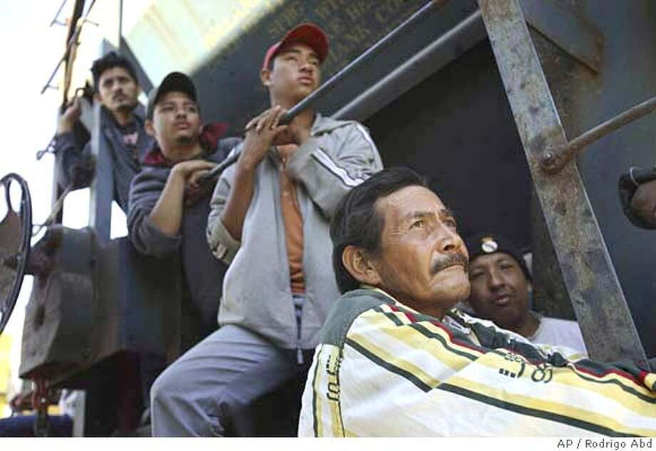 ###Live Caption:**ADVANCE FOR MONDAY, APRIL 14** Illegal immigrants travel in a train heading north, on their way to the U.S. in Arriaga, southern Mexico, Saturday, Feb. 2, 2008. U.S. and Mexican authorities told The Associated Press they have seen a dramatic drop in the number of Central American immigrants detained, indicating that factors in Mexico, not just U.S. border security, are contributing to the slowdown in illegal immigration to the U.S. (AP Photo/Rodrigo Abd)###Caption History:**ADVANCE FOR MONDAY, APRIL 14** Illegal immigrants travel in a train heading north, on their way to the U.S. in Arriaga, southern Mexico, Saturday, Feb. 2, 2008. U.S. and Mexican authorities told The Associated Press they have seen a dramatic drop in the number of Central American immigrants detained, indicating that factors in Mexico, not just U.S. border security, are contributing to the slowdown in illegal immigration to the U.S. (AP Photo/Rodrigo Abd)###Notes:###Special Instructions:**ADVANCE FOR MONDAY, APRIL 14**; EFE OUT - PHOTO TAKEN FEB. 2, 2008 Photo: Rodrigo Abd