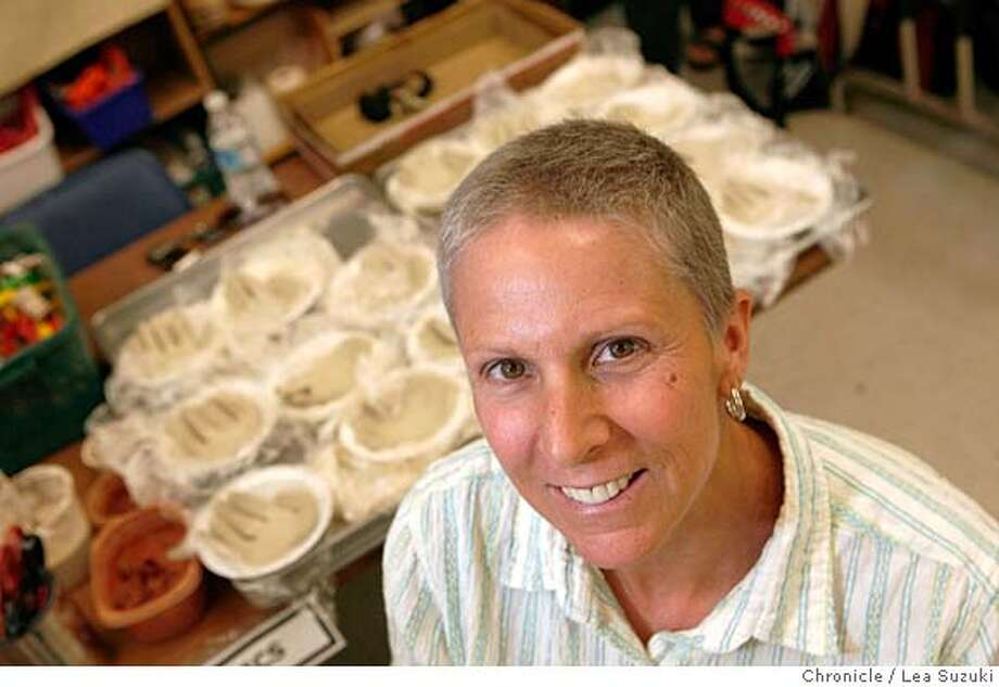 Kathryn Longtin in the ceramics room at Allen at Steinbeck Elementary School in San Jose. Longtin, an art teacher and cancer survivor, who is supporting the arts in the public school system as a volunteer with the Art Vistas Program at Allen at Steinbeck Elementary School in San Jose, Calif. on Monday, April 14 2008.  Photo By Lea Suzuki/ San Francisco Chronicle Ran on: 04-20-2008  Kathryn Longtin runs the Art Vistas program at a San Jose elementary school even as she's battling Stage 3 non-Hodgkin's lymphoma. Photo: Lea Suzuki