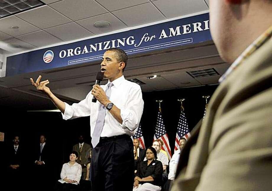 President Barack Obama speaks during the Organizing for America National Health Care Forum in Washington Thursday, Aug. 20, 2009.(AP Photo/Alex Brandon) Photo: Alex Brandon, AP