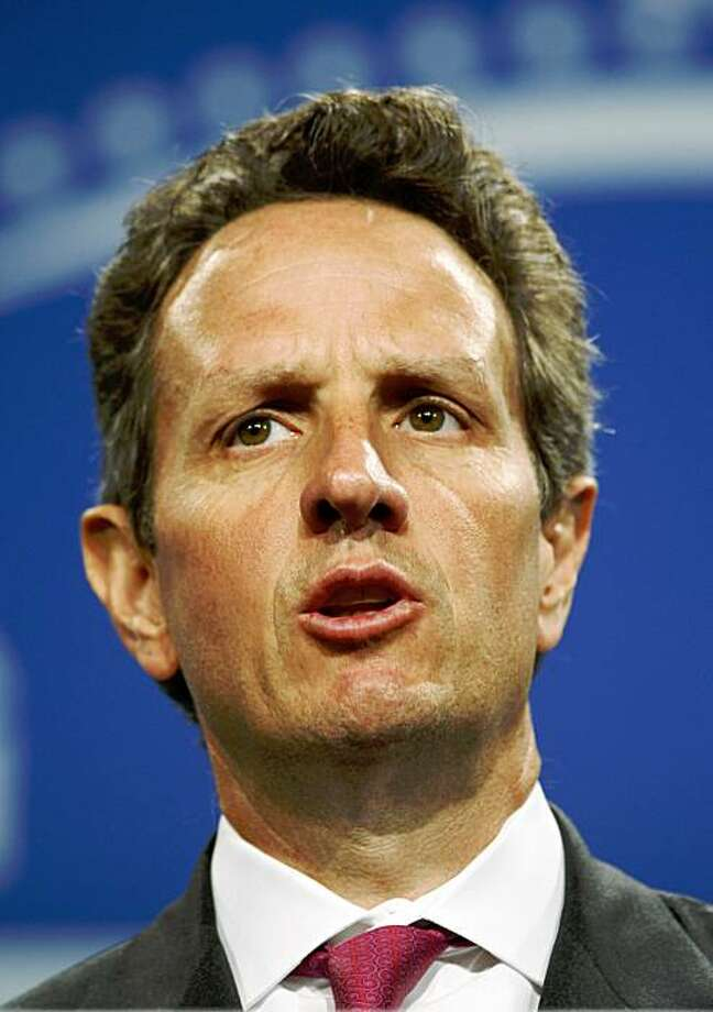 US Treasury Secretary Tim Geithner talks during a news conference following the G20 finance minister's summit in central London, Saturday Sept. 5, 2009. (AP Photo/Lefteris Pitarakis) Photo: Lefteris Pitarakis, AP