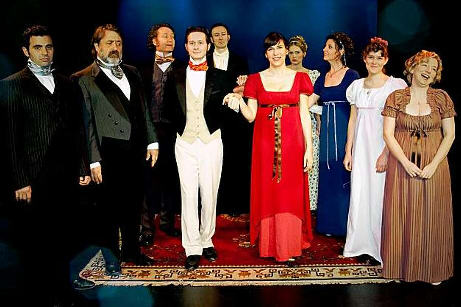 "Left to Right : Nick Massouh, Floyd Van Buskirk, Brian Lohmann, Brian Jones, Paul Rogan, Edi Patterson, Lauren Lewis, Tracy Burns, Mollie Taxe and Lisa Fredrickson. Performers in ""Jane Austen Unscripted."" Photo: Alison Inconstanti"