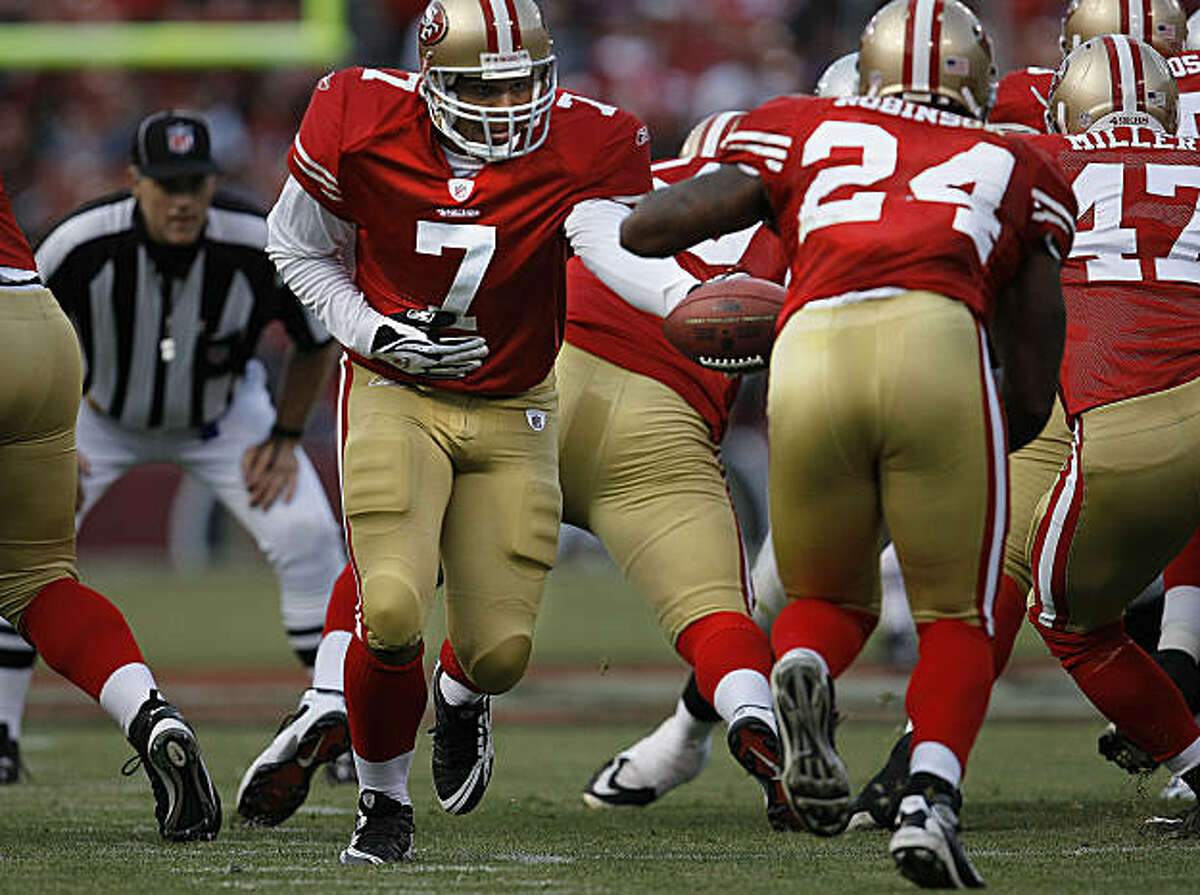 San Francisco 49er quarterback Nate Davis (7) hands off to Michael Robinson (24) as the San Francisco 49ers take on the Oakland Raiders at Candlestick Park in San Francisco, Calif., on Saturday August 22, 2009, in a pre-season game.