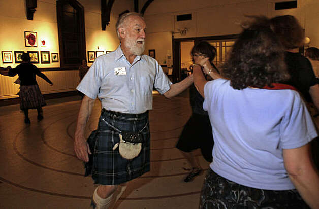 Sid Kass, 77, attends a Scottish Country dancing class wearing his kilt and slippers at the Noe Valley Ministry in San Francisco, Calif., on August 20, 2009. Photo: Frederic Larson, The Chronicle