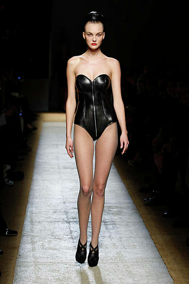 Look from the Yves Saint Laurent Fall 2009 collection, with leather bustier. Photo: Courtesy YSL
