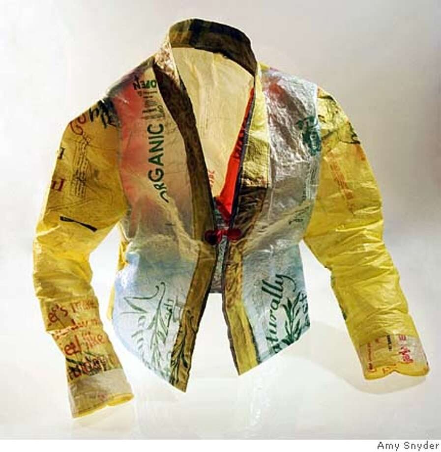 ###Live Caption:Karen Wilkinson's jacket made from plastic bags from Chinatown, part of the Exploratorium's Second Skin exhibit, opening Fri., April 25, 2008.###Caption History:Karen Wilkinson's jacket made from plastic bags from Chinatown, part of the Exploratorium's Second Skin exhibit, opening Fri., April 25, 2008.###Notes:###Special Instructions: Photo: Amy Snyder
