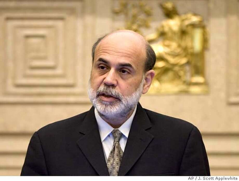 ###Live Caption:Federal Reserve Chairman Ben Bernanke speaks on efforts to help promote money skills among young people, Wednesday, April 9, 2008, at the Federal Reserve Building in Washington. (AP Photo/J. Scott Applewhite)###Caption History:Federal Reserve Chairman Ben Bernanke speaks on efforts to help promote money skills among young people, Wednesday, April 9, 2008, at the Federal Reserve Building in Washington. (AP Photo/J. Scott Applewhite)###Notes:Ben Bernanke###Special Instructions: Photo: J. Scott Applewhite