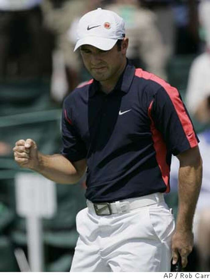 ###Live Caption:Trevor Immelman of South Africa reacts after he birdies the 18th hole during the second round of the 2008 Masters golf tournament at the Augusta National Golf Club in Augusta, Ga., Friday, April 11, 2008. (AP Photo/Rob Carr)###Caption History:Trevor Immelman of South Africa reacts after he birdies the 18th hole during the second round of the 2008 Masters golf tournament at the Augusta National Golf Club in Augusta, Ga., Friday, April 11, 2008. (AP Photo/Rob Carr)###Notes:Trevor Immelman###Special Instructions: Photo: Rob Carr