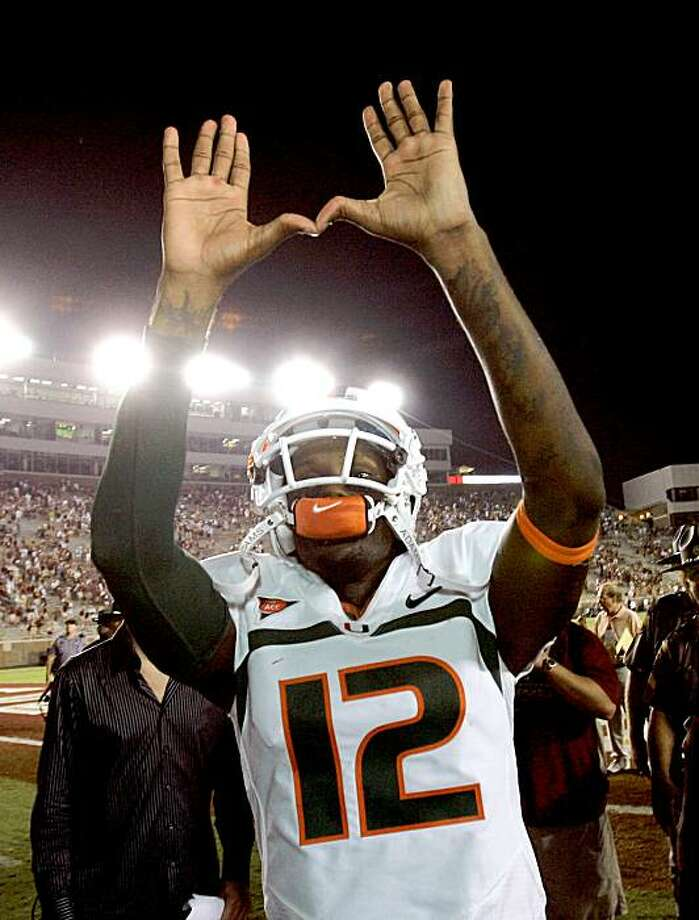 Miami quarterback Jacory Harris celebrates following Miami's 38-34 win over Florida State in an NCAA college football game Monday, Sept. 7, 2009, in Tallahassee, Fla. (AP Photo/Phil Coale) Photo: Phil Coale, AP