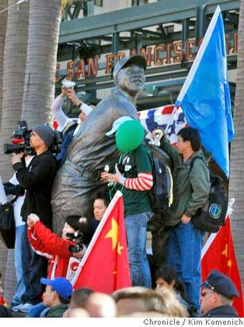 Pro-China and anti-China protesters clash outside AT&T park near the corner of Third and King Streets in San Francisco, Calif. Wednesday April 9, 2008 in anticipation of the passing of the Olympic torch. Photo by Kim Komenich / San Francisco Chronicle Photo: Kim Komenich