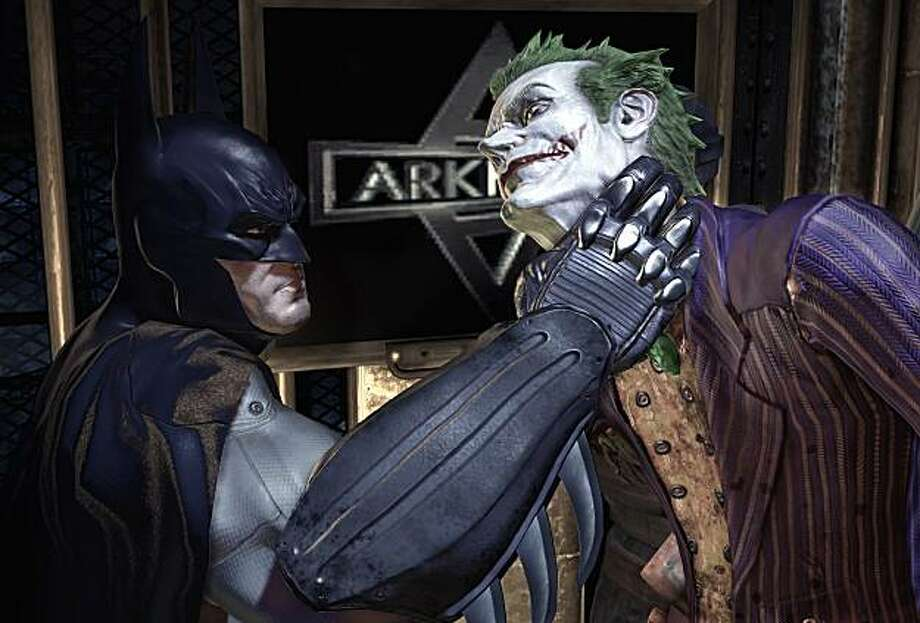 Voice work by Kevin Conroy as Batman (left) and Mark Hamill as the Joker lend a touch of authenticity to Batman: Arkham Asylum. Photo: Eidos Interactive