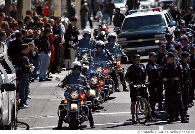 Police line Van Ness Avenue on Wednesday afternoon on the day of the Torch Relay on Wednesday, April 9, 2008, in San Francisco, Calif.  Photo by Carlos Avila Gonzalez / San Francisco Chronicle/ Pool Photo: Carlos Avila Gonzalez