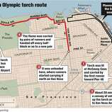 Olympic torch route changed. San Francisco Chronicle Graphic