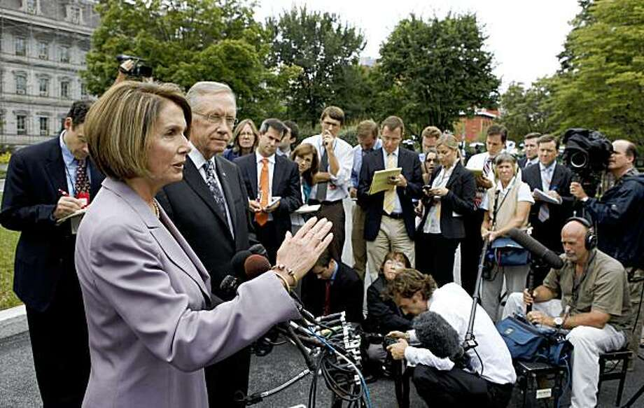 House Speaker Nancy Pelosi of Calif. accompanied by Senate Majority Leader Harry Reid of Nev., speaks to reporters outside of the West Wing of the White House in Washington, Tuesday, Sept. 8, 2009, after a meeting with President Barack Obama regarding health care reform. (AP Photo/Charles Dharapak) Photo: Charles Dharapak, AP