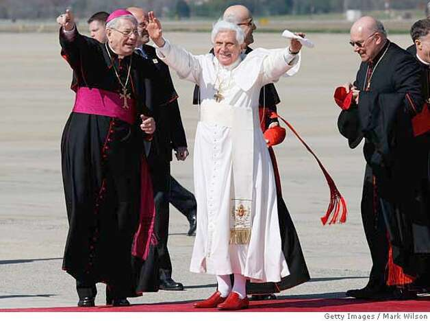 ###Live Caption:CAMP SPRINGS, MD - APRIL 15: (AFP OUT) Pope Benedict XVI arrives at Andrews Air Force Base, April 15, 2008 in Camp Springs, Maryland. On Wednesday Pope Benedict XVI will visit the White House and on Thursday he will he will say Mass at the Nationals Baseball stadium. (Photo by Mark Wilson-Pool/Getty Images) (Photo by Mark Wilson/Getty Images)###Caption History:CAMP SPRINGS, MD - APRIL 15: (AFP OUT) Pope Benedict XVI arrives at Andrews Air Force Base, April 15, 2008 in Camp Springs, Maryland. On Wednesday Pope Benedict XVI will visit the White House and on Thursday he will he will say Mass at the Nationals Baseball stadium. (Photo by Mark Wilson-Pool/Getty Images) (Photo by Mark Wilson/Getty Images)###Notes:Pope Benedict XVI Arrives In The U.S###Special Instructions: Photo: Mark Wilson
