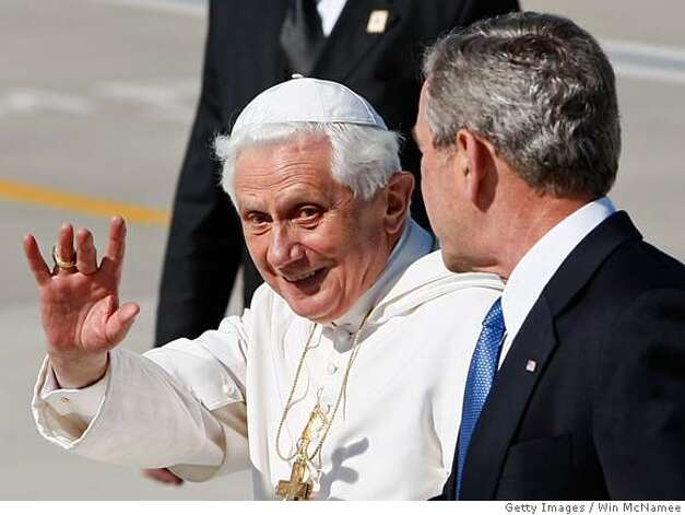 ###Live Caption:CAMP SPRINGS, MD - APRIL 15: Pope Benedict XVI waves as he is escorted by U.S. President George W. Bush while arriving in the United States April 15, 2008 at Andrews Air Force Base in Camp Springs, Maryland. Pope Benedict will spend 3 days in Washington, DC, including tomorrow at the White House, before continuing on to New York City later in the week. (Photo by Win McNamee/Getty Images)###Caption History:CAMP SPRINGS, MD - APRIL 15: Pope Benedict XVI waves as he is escorted by U.S. President George W. Bush while arriving in the United States April 15, 2008 at Andrews Air Force Base in Camp Springs, Maryland. Pope Benedict will spend 3 days in Washington, DC, including tomorrow at the White House, before continuing on to New York City later in the week. (Photo by Win McNamee/Getty Images)###Notes:Pope Benedict XVI Arrives In The U.S###Special Instructions: Photo: Win McNamee