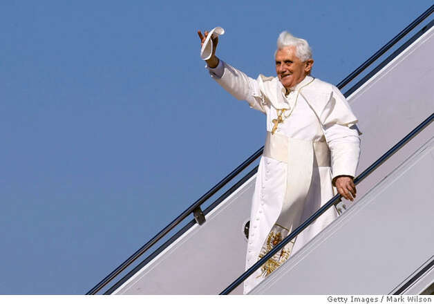 CAMP SPRINGS, MD - APRIL 15: (AFP OUT) Pope Benedict XVI waves after arriving at Andrews Air Force Base, April 15, 2008 in Camp Springs, Maryland. On Wednesday Pope Benedict XVI will visit the White House and on Thursday he will he will say Mass at the Nationals Baseball stadium. (Photo by Mark Wilson-Pool/Getty Images) (Photo by Mark Wilson/Getty Images) Photo: Mark Wilson