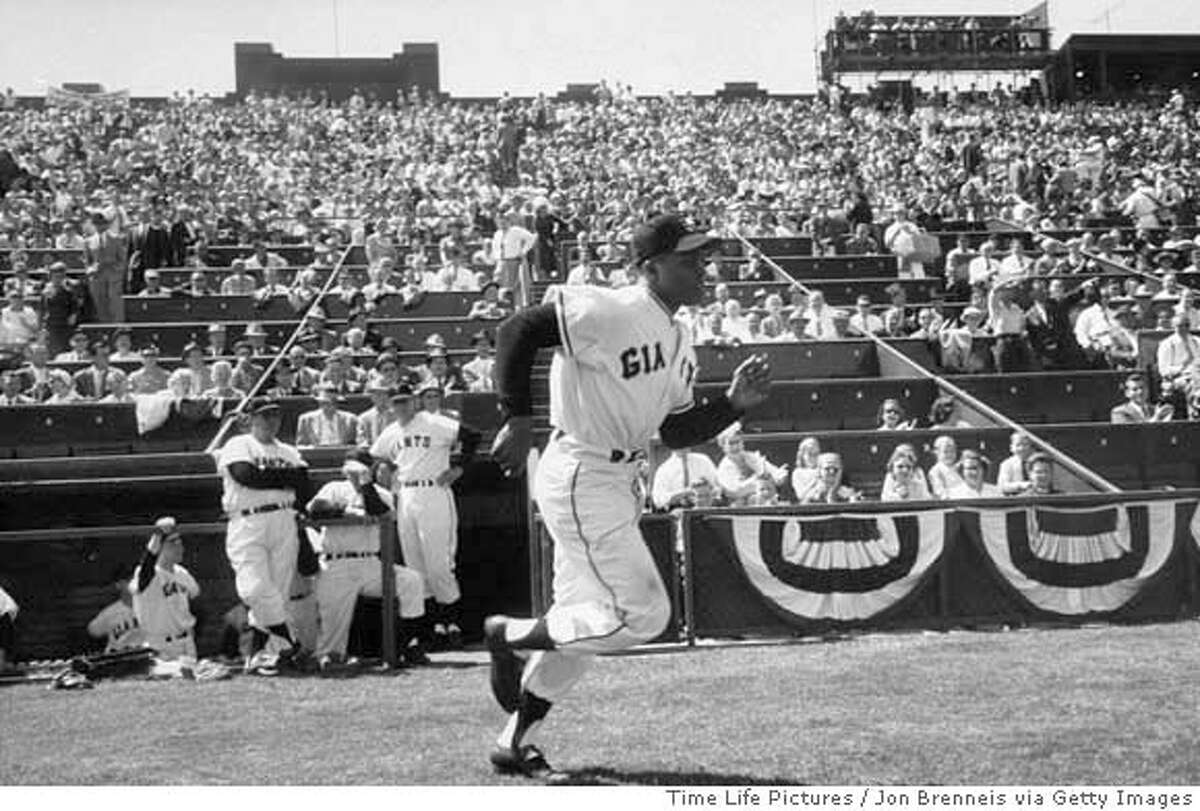 ###Live Caption:Giants player Willie Mays, at Seals Stadium. (Photo by Jon Brenneis//Time Life Pictures/Getty Images) Ran on: 04-01-2007 Willie Mays, who had established himself as one of the game's best players, runs onto the field prior to the Giants' 1958 opener. Ran on: 04-01-2007 Willie Mays, who had established himself as one of the game's best players, runs onto the field prior to the Giants' 1958 opener. Ran on: 04-01-2007 Giants player Willie Mays, at Seals Stadium. (Photo by Jon Brenneis//Time Life Pictures/Getty Images) Ran on: 04-01-2007 Willie Mays, who had established himself as one of the game's best players, runs onto the field prior to the Giants' 1958 opener.###Caption History:Giants player Willie Mays, at Seals Stadium. (Photo by Jon Brenneis//Time Life Pictures/Getty Images) Ran on: 04-01-2007 Willie Mays, who had established himself as one of the games best players, runs onto the field prior to the Giants 1958 opener. Ran on: 04-01-2007 Willie Mays, who had established himself as one of the games best players, runs onto the field prior to the Giants 1958 opener. Ran on: 04-01-2007 Ran on: 03-23-2008 Willie Mays, one of several Hall of Famers on Bruce Jenkins all-time Giants team, runs onto the field prior to the 1958 opener. Ran on: 03-23-2008 Willie Mays, one of several Hall of Famers on Bruce Jenkins all-time Giants team, runs onto the field prior to the 1958 opener.###Notes:###Special Instructions: