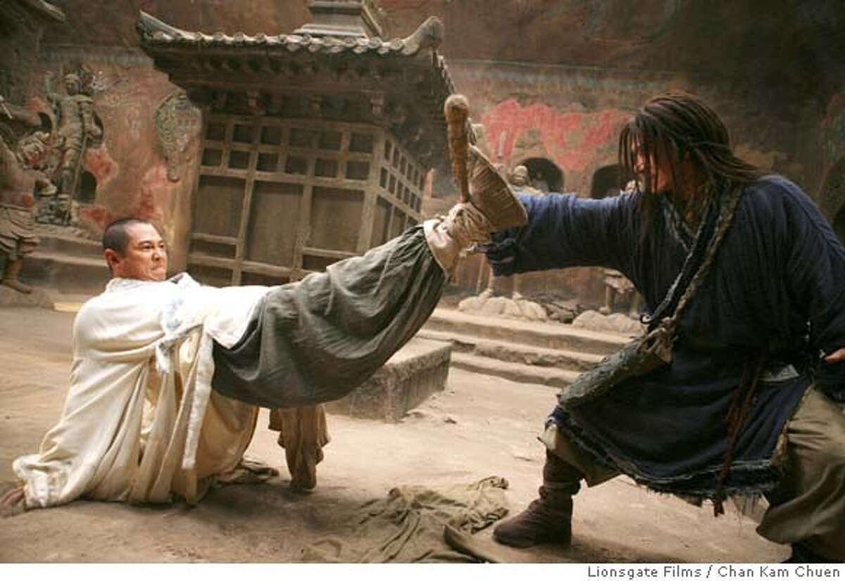 In this image released by Lionsgate Films, Jet Li, left, and Jackie Chan are shown in a scene from