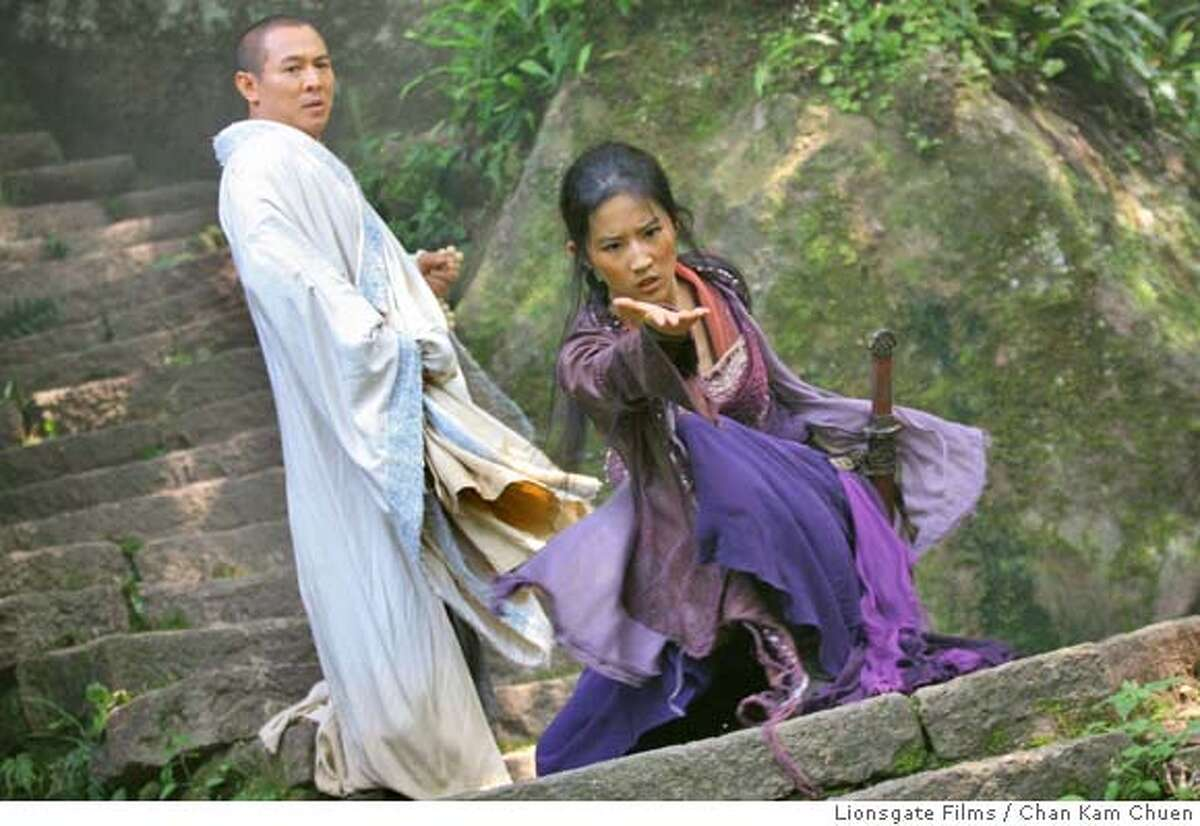 In this image released by Lionsgate Films, Jet Li, left, and Crystal Liu are shown in a scene from