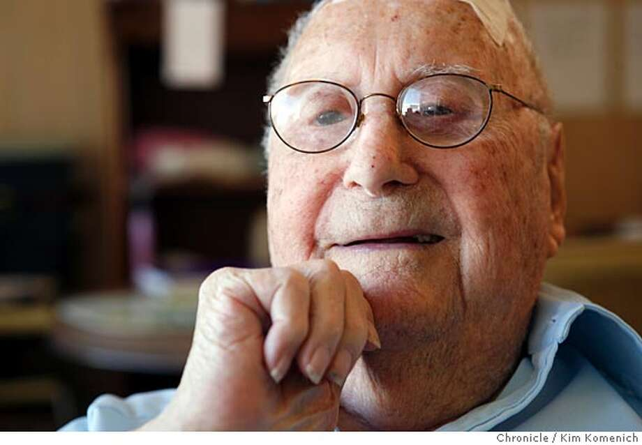 Herb Hamrol, 105, is one of the only living survivors of the 1906 San Francisco Earthquake. His is photographed in his apartment in Daly City, Calif., on April 15, 2008  Photo by Kim Komenich / San Francisco Chronicle Photo: Kim Komenich