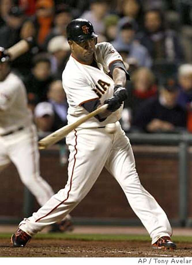 ###Live Caption:San Francisco third baseman Jose Castillo hits a double to drive in Ray Durham against St. Louis Cardinals in the seventh inning of a baseball game on Thursday, April 10, 2008, in San Francisco. Giants won 5-1. (AP Photo/Tony Avelar)###Caption History:San Francisco third baseman Jose Castillo hits a double to drive in Ray Durham against St. Louis Cardinals in the seventh inning of a baseball game on Thursday, April 10, 2008, in San Francisco. Giants won 5-1. (AP Photo/Tony Avelar)###Notes:Jose Castillo###Special Instructions:EFE OUT Photo: Tony Avelar