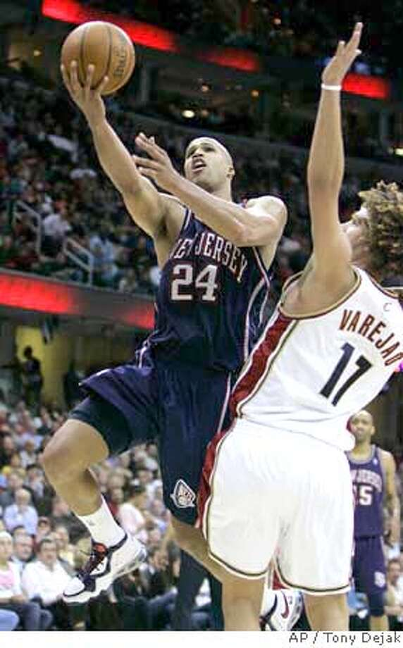###Live Caption:New Jersey Nets' Richard Jefferson (24) drives to the basket against Cleveland Cavaliers' Anderson Varejao, from Brazil, in the third quarter of an NBA basketball game, Wednesday, April 9, 2008, in Cleveland. The Cavaliers won 104-83. (AP Photo/Tony Dejak)###Caption History:New Jersey Nets' Richard Jefferson (24) drives to the basket against Cleveland Cavaliers' Anderson Varejao, from Brazil, in the third quarter of an NBA basketball game, Wednesday, April 9, 2008, in Cleveland. The Cavaliers won 104-83. (AP Photo/Tony Dejak)###Notes:Richard Jefferson, Anderson Varejao###Special Instructions:EFE OUT Photo: Tony Dejak