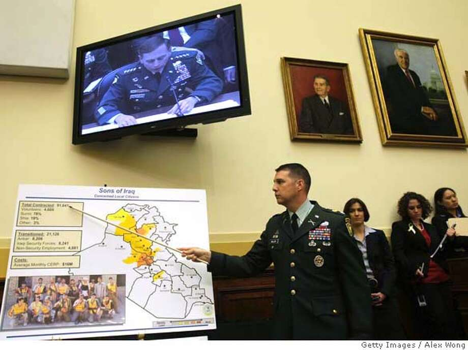 ###Live Caption:WASHINGTON - APRIL 09: An aide of U.S. Army Gen. David Petraeus, Commander of American forces in Iraq, points to a graphic presentation during a hearing before the House Foreign Affairs Committee on Capitol Hill April 9, 2008 in Washington, DC. On Capitol Hill for the second day, Petraeus and Crocker reported to the House on the current situation on the war in Iraq. Petraeus told Congress that he does not recommend lowering the number of U.S. troops in Iraq below 140,000 before mid-September. (Photo by Alex Wong/Getty Images)###Caption History:WASHINGTON - APRIL 09: An aide of U.S. Army Gen. David Petraeus, Commander of American forces in Iraq, points to a graphic presentation during a hearing before the House Foreign Affairs Committee on Capitol Hill April 9, 2008 in Washington, DC. On Capitol Hill for the second day, Petraeus and Crocker reported to the House on the current situation on the war in Iraq. Petraeus told Congress that he does not recommend lowering the number of U.S. troops in Iraq below 140,000 before mid-September. (Photo by Alex Wong/Getty Images)###Notes:Petraeus And Crocker Testify Before Congress For A Second Day###Special Instructions: Photo: Alex Wong