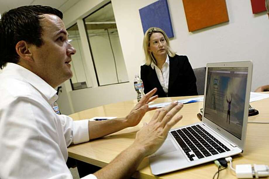 John Mahoney (left), CEO of The Mahoney Group, interviews Sara Shook of Sunnyvale (right) for a 90-day contract project manager position in Santa Clara, Calif. on Tuesday, August 18, 2009. Photo: Lea Suzuki, The Chronicle