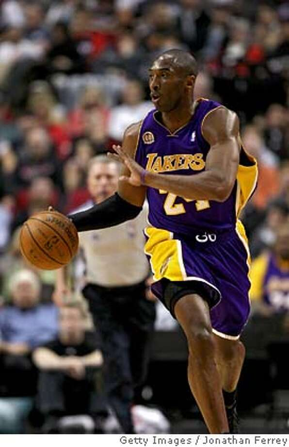 ###Live Caption:PORTLAND, OR - APRIL 08: Kobe Bryant #24 of the Los Angeles Lakers dribbles with the ball against the Portland Trail Blazers at the Rose Garden on April 8, 2008 in Portland, Oregon. NOTE TO USER: User expressly acknowledges and agrees that, by downloading and or using this Photograph, user is consenting to the terms and conditions of the Getty Images License Agreement. (Photo by Jonathan Ferrey/Getty Images)###Caption History:PORTLAND, OR - APRIL 08: Kobe Bryant #24 of the Los Angeles Lakers dribbles with the ball against the Portland Trail Blazers at the Rose Garden on April 8, 2008 in Portland, Oregon. NOTE TO USER: User expressly acknowledges and agrees that, by downloading and or using this Photograph, user is consenting to the terms and conditions of the Getty Images License Agreement. (Photo by Jonathan Ferrey/Getty Images)###Notes:Los Angeles Lakers v Portland Trail Blazers###Special Instructions: Photo: Jonathan Ferrey