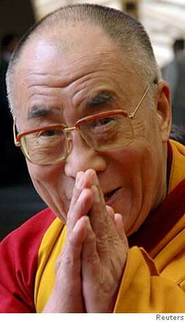 Tibetan spiritual leader Dalai Lama gestures during a visit to Tsugla Khang temple in the northern Indian hill town of Dharamsala March 31, 2008. China has stepped up attacks on the Dalai Lama, blasting him for abusing religion, stirring protests in Tibet and preparing for independence as the Olympic flame arrived in Beijing on Monday under tight security. REUTERS/Stringer (INDIA)  Ran on: 04-02-2008  The Dalai Lama was called names and accused of planning violence by the Chinese government.  Ran on: 04-02-2008 Ran on: 04-13-2008 Ran on: 04-13-2008  The Dalai Lama during a visit to a temple in Dharamsala, India, in March. Photo: STRINGER/INDIA