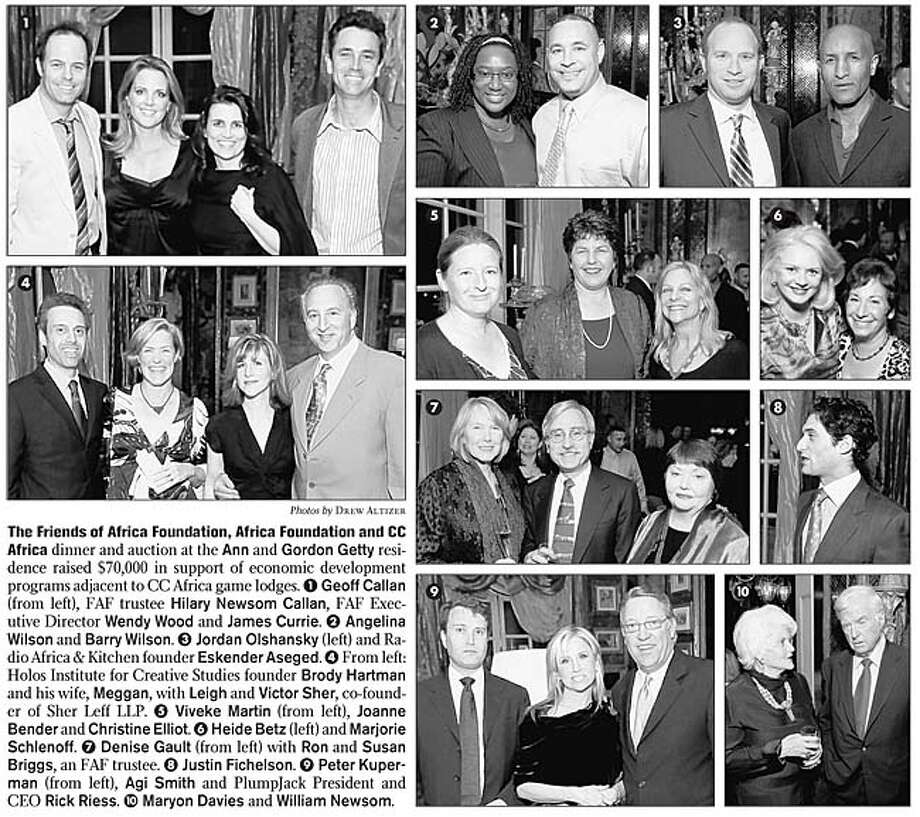 The Friends of Africa Foundation, Africa Foundation and CC Africa dinner and auction at the Ann and Gordon Getty residence raised $70,000 in support of economic development programs adjacent to CC Africa game lodges. Photos by Drew Altizer