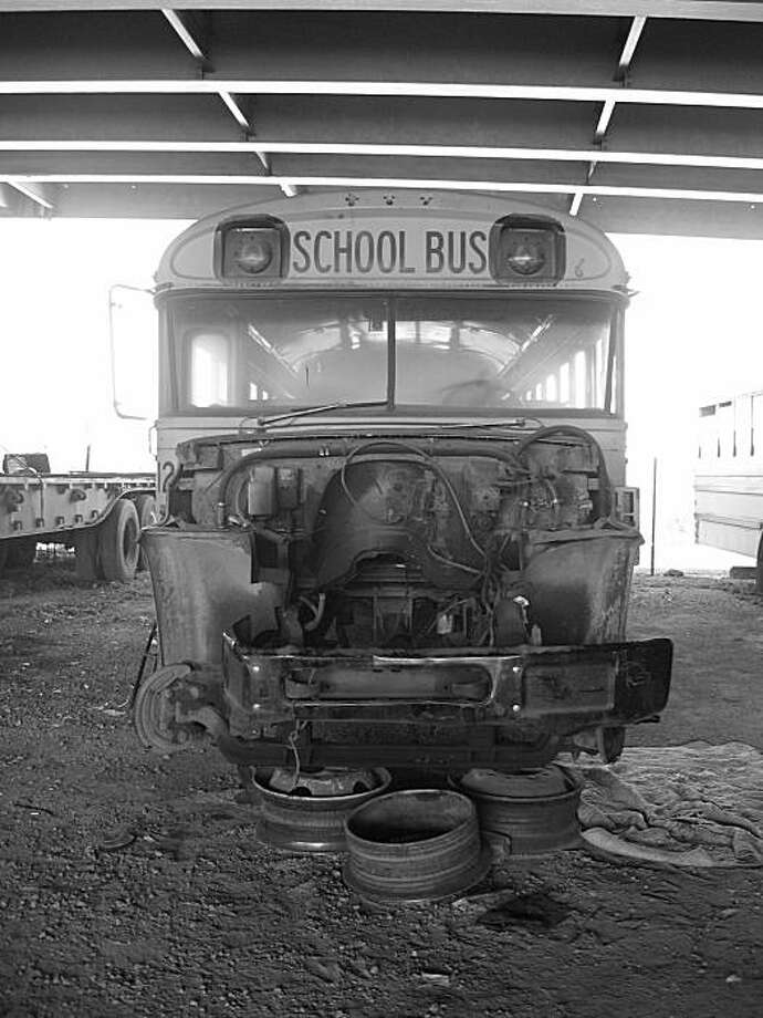 """School Bus to Nowhere"" evokes one aspect of the current reality in Oakland native Theo Konrad Auer's hometown. Photo: Theo Konrad Auer"