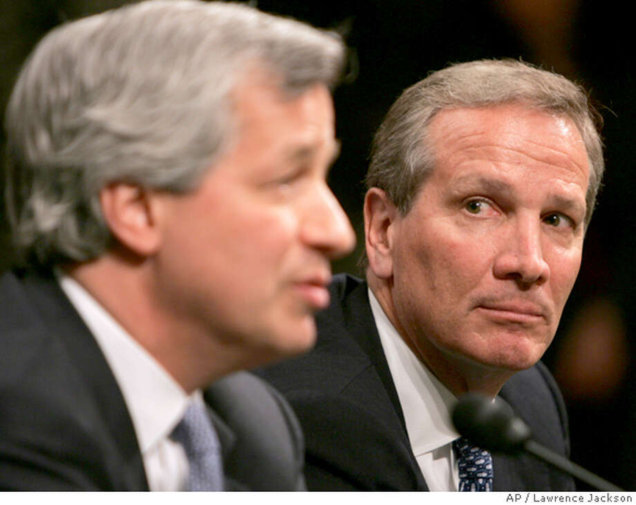 JP Morgan Chairman and Chief Executive Officer Jamie Dimon, left, and Bear Stearns president and Chief Executive Officer Alan Schwartz testify on Capitol Hill in Washington, Thursday, April 3, 2008, before the Senate Banking Committee hearing on the federal bailout of Bear Stearns. (AP Photo/Lawrence Jackson) Photo: Lawrence Jackson
