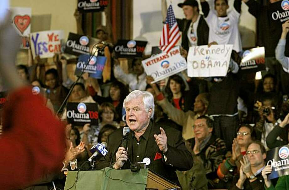 obama02_108_mac.jpg  Senator Kennedy speaks to the Obama crowd.   Sen. Ted Kennedy (D-Mass.),  headlines a rally for presidential candidate Barack Obama in North Oakland at the Beebe Memorial Cathedral on Telegraph Ave.   Photographed in, Oakland, Ca, on 2/1/08.   Photo by: Michael Macor/ San Francisco Chronicle Photo: Michael Macor, The Chronicle