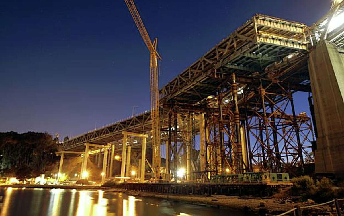 A 300-foot double-deck section of the Bay Bridge east of Yerba Buena Island Tunnel will slide into position over Labor Day weekend. The new temporary section will allow for the removal of the old span. The new detour will be a slightly different drive as the roadway curves to the south, requiring drivers to slow down while approaching or leaving the tunnel.