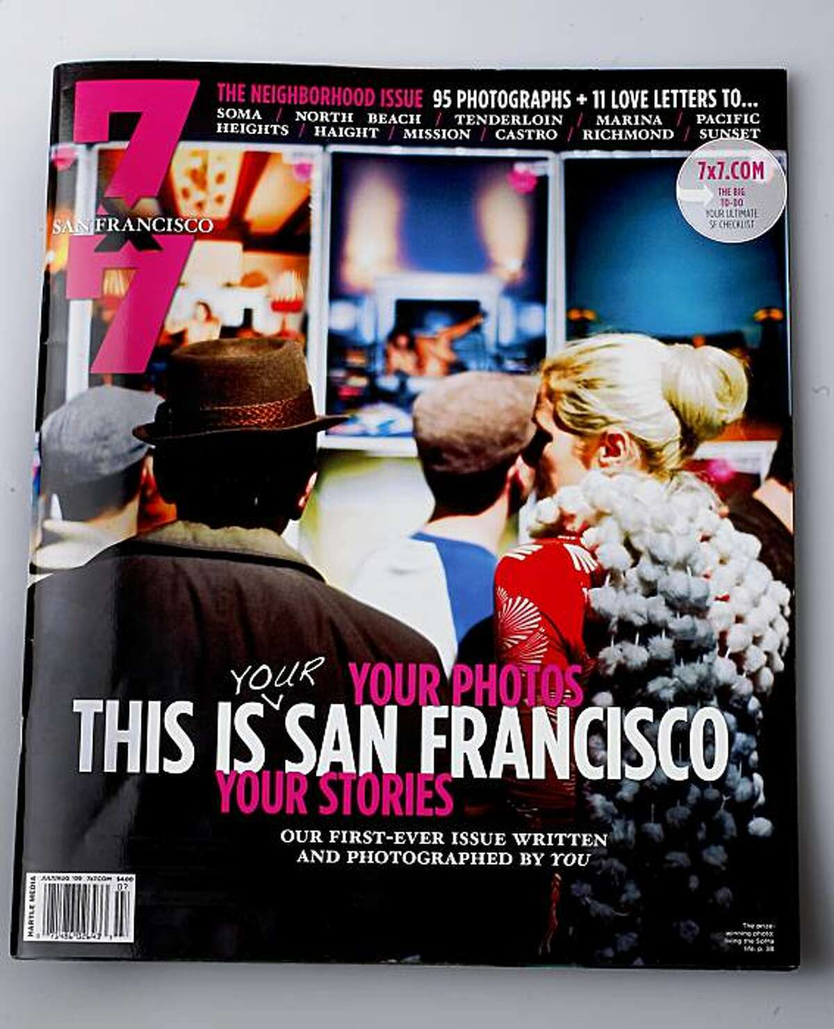 The cover of the August 7X7 magazine. The newest edition of 7X7 magazine features photographs taken by local people in a display of San Francisco neighborhoods.