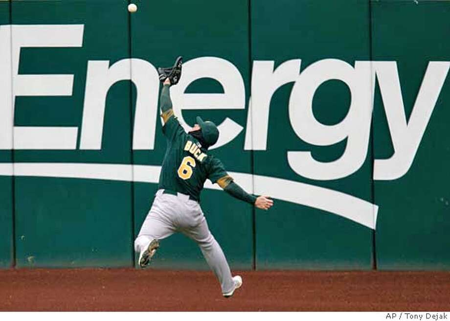 ###Live Caption:Oakland Athletics' Travis Buck catches a ball hit by Cleveland Indians' Ryan Garko in the fourth inning in a baseball game, Sunday, April 13, 2008, in Cleveland. The Indians won 7-1. (AP Photo/Tony Dejak)###Caption History:Oakland Athletics' Travis Buck catches a ball hit by Cleveland Indians' Ryan Garko in the fourth inning in a baseball game, Sunday, April 13, 2008, in Cleveland. The Indians won 7-1. (AP Photo/Tony Dejak)###Notes:Travis Buck###Special Instructions:EFE OUT Photo: Tony Dejak