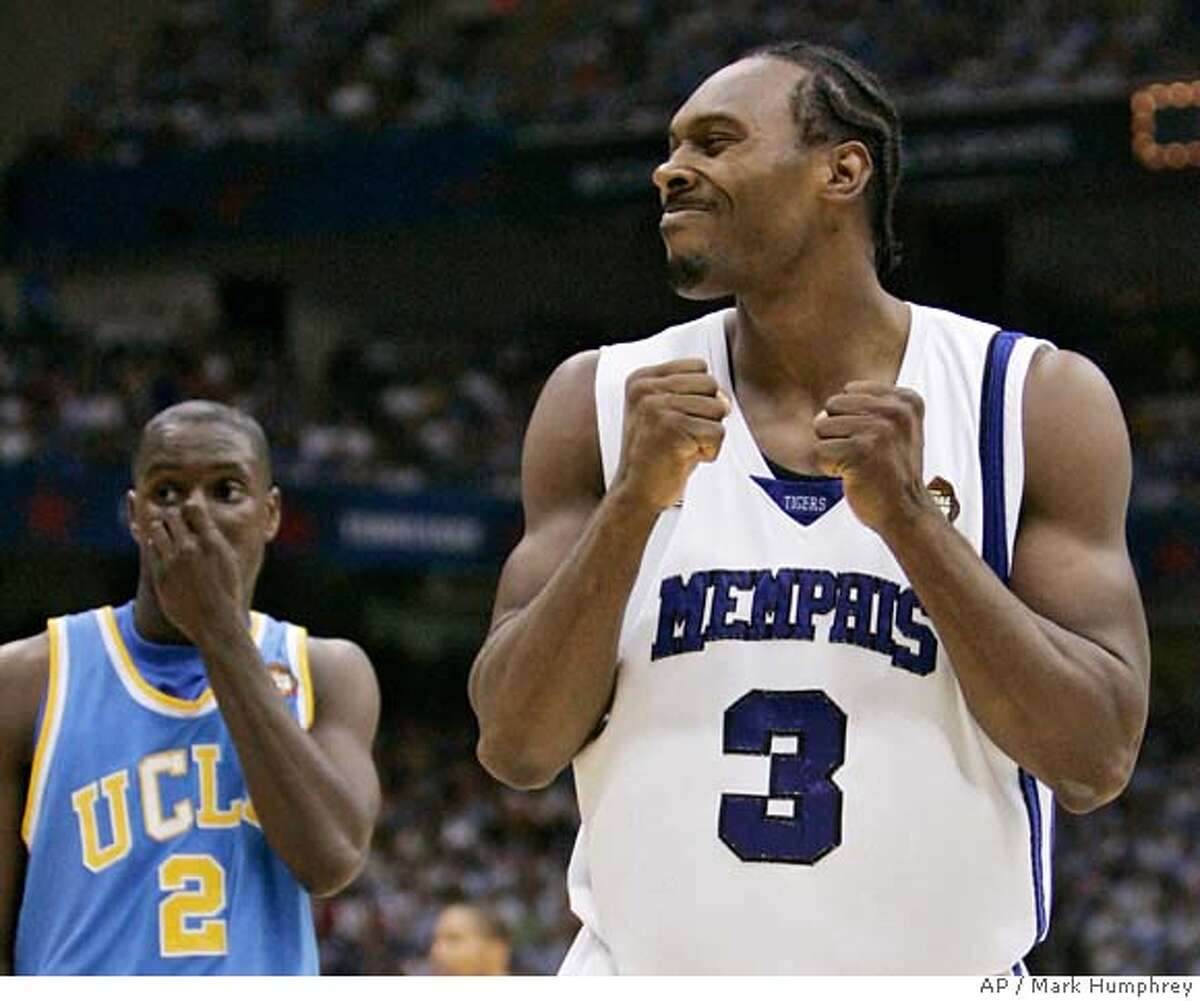 Memphis' Joey Dorsey (3) reacts as UCLA's Darren Collison (2) looks on during a semifinals game at the college basketball Final Four Saturday, April 5, 2008, in San Antonio. (AP Photo/Mark Humphrey)
