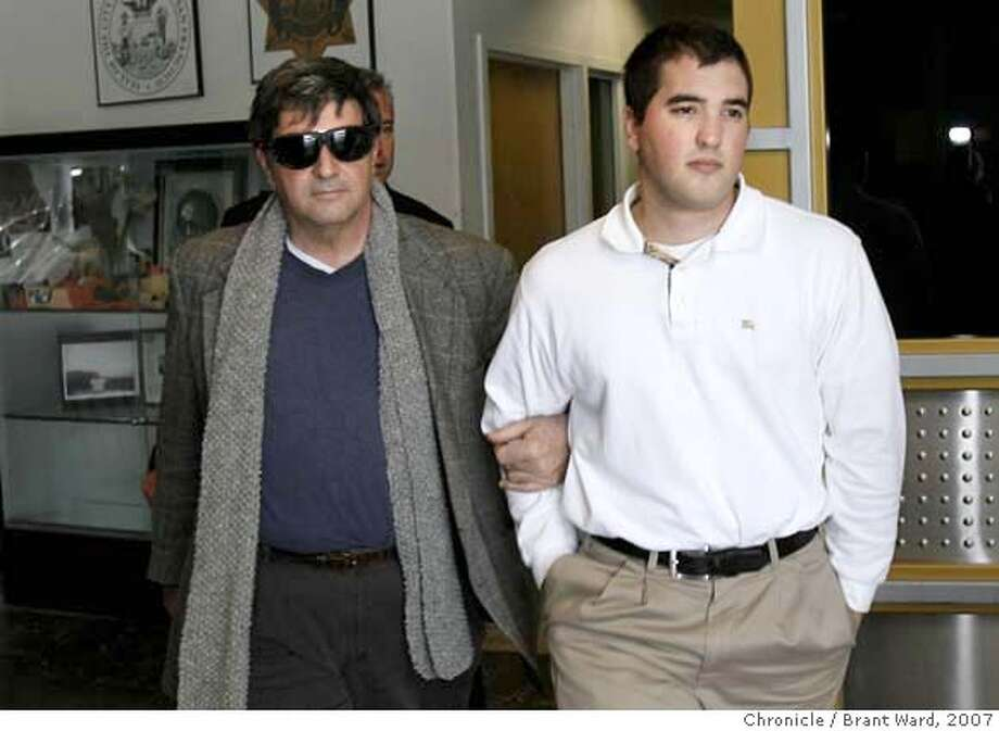 ###Live Caption:Father Dennis Aicardi, left, escorted his son Richard Aicardi from the jail.###Caption History:yale_aicardi003.JPG  Father Dennis Aicardi, left, escorted his son Richard Aicardi from the jail.  Richard Aicardi surrendered to authorities Wednesday. After booking he left the San Francisco jail at the Sheriff's office accompanied by his father Dennis. He didn't answer any questions about his arrest on felony assault charges alleged by a Yale University singing group on New Years eve.  {Brant Ward/San Francisco Chronicle}3/7/07 Ran on: 03-09-2007  Brian Dwyer is apparently depressed and sleeps a lot.  Ran on: 03-09-2007  Brian Dwyer is apparently depressed and sleeps a lot.###Notes:###Special Instructions: Photo: Brant Ward