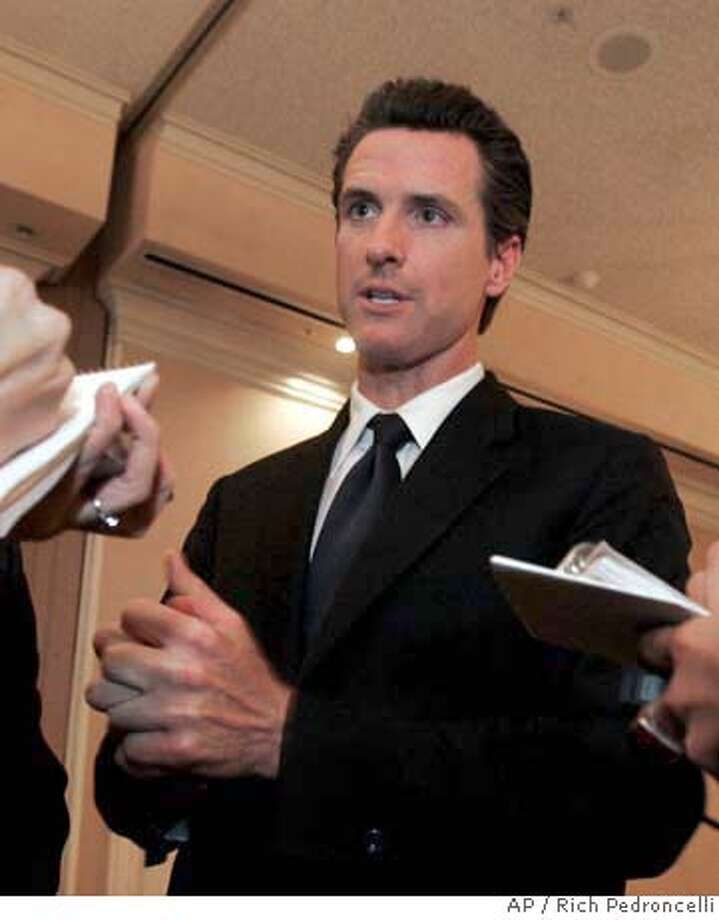 ###Live Caption:San Francisco Mayor Gavin Newsom talks to reporters after his appearance before the Sacramento Press Club in Sacramento, Calif., Tuesday, March 25, 2008. Newsom is criticizing deep cuts to California's Medi-Cal program and says he is considering a lawsuit to reinstate some of the funding. (AP Photo/Rich Pedroncelli)###Caption History:San Francisco Mayor Gavin Newsom talks to reporters after his appearance before the Sacramento Press Club in Sacramento, Calif., Tuesday, March 25, 2008. Newsom is criticizing deep cuts to California's Medi-Cal program and says he is considering a lawsuit to reinstate some of the funding. (AP Photo/Rich Pedroncelli) Ran on: 03-26-2008  San Francisco Mayor Gavin Newsom says the 10 percent reduction in Medi-Cal payments would impose an unfair burden on the city's taxpayers.  Ran on: 03-26-2008  San Francisco Mayor Gavin Newsom says the 10 percent reduction in Medi-Cal payments would impose an unfair burden on the city's taxpayers.  Ran on: 04-01-2008  Mayor Gavin Newsom has divested himself of local business holdings but still has plenty of financial connections in Napa County and the Lake Tahoe area.  Ran on: 04-01-2008###Notes:Gavin Newsom###Special Instructions: Photo: Rich Pedroncelli