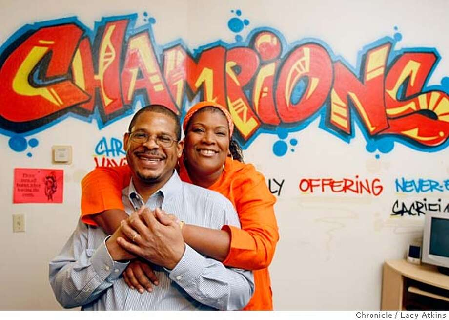 Jesse and Pally Cottonham pose for a photograph at St. John's Baptist Church, Thursday April 10, 2008, where they work with youth in San Francisco, Calif. The Cottonhams' started a youth ministry that provides mentoring and leadership skills to youth of the Bayview/Hunter's Point communities in San Francisco.  Lacy Atkins / San Francisco Chronicle  Ran on: 04-13-2008  Jesse and Pally Cottonham at St. John Missionary Baptist Church in the Bayview, where they work with youths. Photo: Lacy Atkins