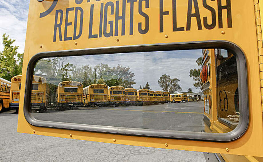The maintenance yard of he Napa Valley Unified School district on Friday August 28, 2009 in Napa, Calif., is filled with one of the most eco-friendly school bus fleets in Northern California if not the entire state. Photo: Michael Macor, The Chronicle