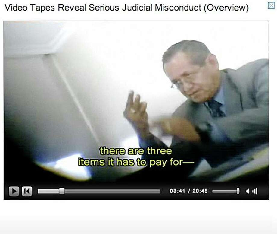 A video tape posted on Chevron's website captures trial Judge Juan Núñez discussing the case and raising bribery allegations. Photo: Chevron