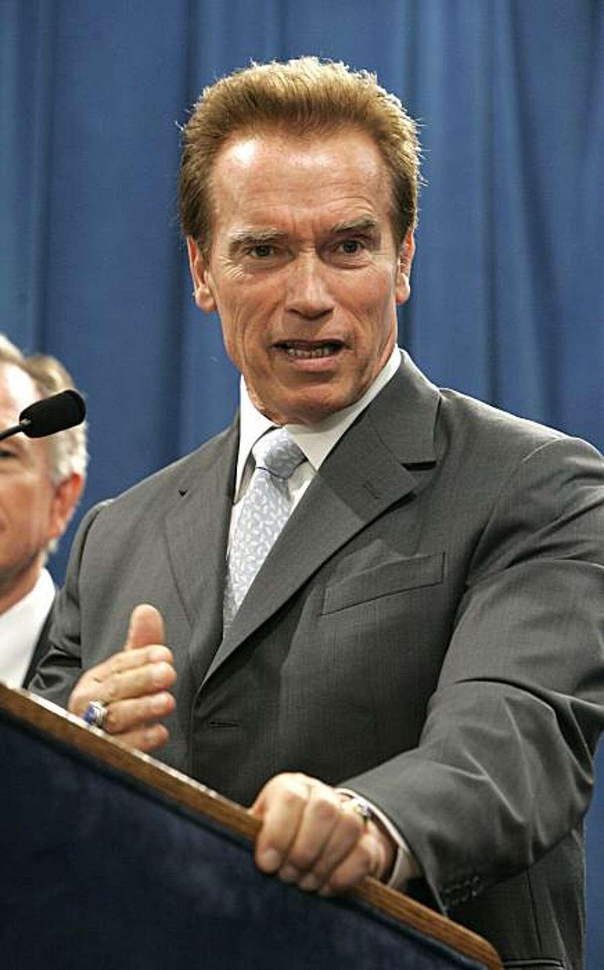 Gov. Arnold Schwarzenegger during a Capitol news conference in Sacramento, Calif., Thursday, Aug. 20, 2009.(AP Photo/Rich Pedroncelli)