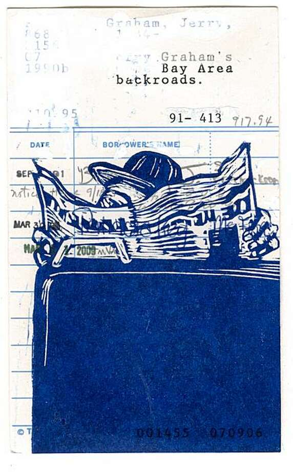 """Overlapping travelogues of the physical and mental worlds, Mary V. Marsh stamps the image of a bus-riding newspaper reader on a discarded library card for """"Bay Area Backroads."""" Photo: Mercury 20"""