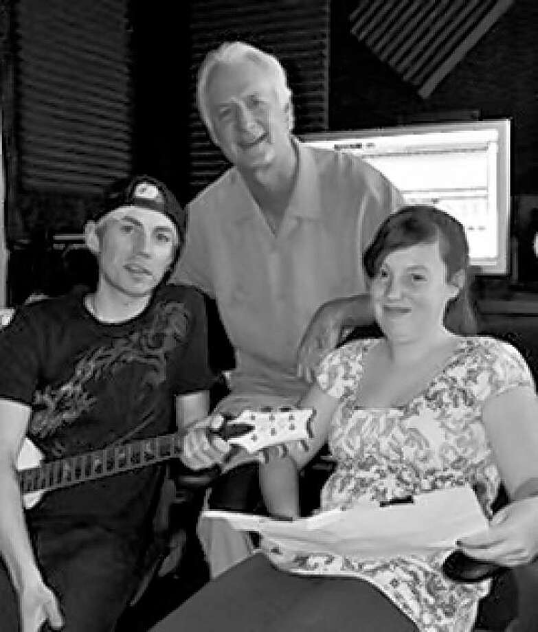 Singer-songwriter-producer Evan Taubenfeld, DK101 radio DJ Don Bleu and Katie Kilcullen, 11, who wrote a song to win Jonas Brothers tickets. Photo: K101