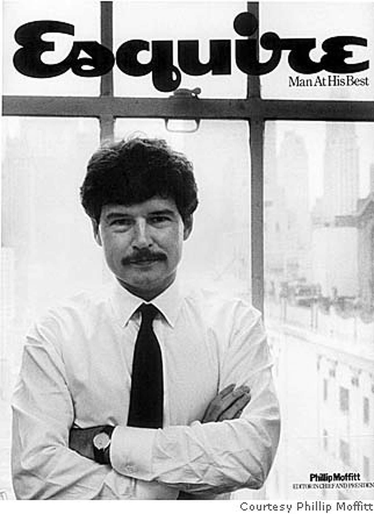 ###Live Caption:Phillip Moffitt with redesigned Esquire logo c. 1981 -- no other information given / Courtesy Phillip Moffitt###Caption History:Phillip Moffitt with redesigned Esquire logo c. 1981 -- no other information given / Courtesy Phillip Moffitt###Notes:###Special Instructions: